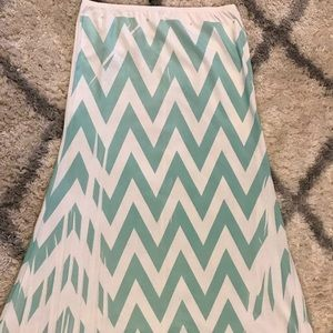 Teal and White Chevron Skirt